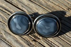 Marfa banded agate cuff links